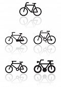 Vector illustration set of different bike symbols. All vector objects are isolated. Colors and trans