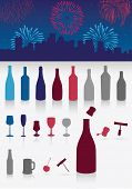 Vector illustration set of party drinks, glasses, corkscrew and decoration. All objects are grouped. Colors are easy to customize.