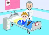 Illustration of a child that gets a by medical examination by a doctor. All vector objects and detai