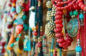 stock photo of beads  - Jewelry at market in Mtsheta - JPG