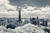 TAIPEI, TAIWAN - JUNE 24 2013. Famous landmark, the 101 skyscraper in infrared photography style, Ta