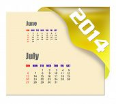 July of 2014 calendar isolated on white background