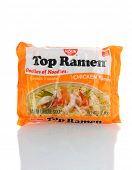 IRVINE, CA - January 21, 2013: A 3 ounce package of Top Ramen Chicken Flavor. Manufactured by Nissin