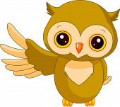 Fun zoo. Illustration of cute Owl. Raster version.