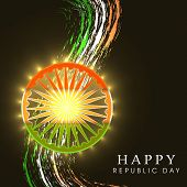 image of ashoka  - Happy Indian Republic Day concept with shiny Ashoka Wheel in national flag colors on shiny wave background - JPG