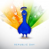 Happy Indian Republic Day concept with Indian national bird peacock with shiny feathers in tricolors on grey background.