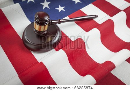 Justice Gavel Resting on an