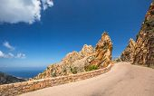 Road Through The Calanches De Piana In Corsica