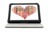 Heartbleed Exploit Concept Word Cloud Forming A Heart Shape On A White Tablet Screen