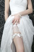 picture of garter belt  - White lace stockings bride - JPG