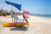 Colorful Mobile Lifeguard Tower On The Beach In Sunny Day