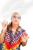 Senior Hippie Lady Smoking