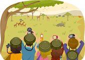 Illustration of Teens on a Safari Tour