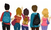 Back View Illustration of College Students on Their Way to School