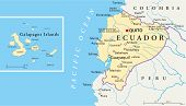 image of political map  - Political map of Ecuador and Galapagos Islands with capital Quito - JPG