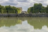 image of versaille  - View of Versailles Chateau gardens famous fountains near Paris France - JPG