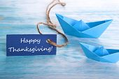 Blue Tag With Happy Thanksgiving