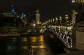Pont Alexandre Iii And Grand Palais At Night