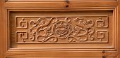 Ancient wooden door in an elegant Chinese culture.