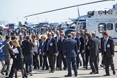 BERLIN, GERMANY - MAY 20 , 2014 : Arrival in a helicopter of German Chancellor Angela Merkel on open