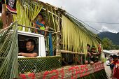 SARAWAK, MALAYSIA: JUNE 1, 2014: Children and musicians of the Bidayuh tribe, an indigenous native t