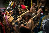 SARAWAK, MALAYSIA: JUNE 1, 2014: Musicians from the Bidayuh tribe, an indigenous native people of Bo