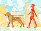 Editable vector mosaic illustration of a woman walking her dog