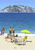 Rio De Janeiro, Brazil - August 29, 2008: Copacabana Beach In Summer Day, Sunbathers Enjoying The Da