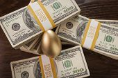 Golden Egg with Thousands of Dollars Surrounding on Table.