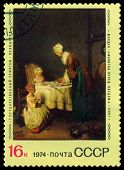 Vintage  Postage Stamp. Saying Grace, By Jean Chardin.