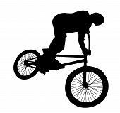 Bmx rider cyclist silhouette isolated on white