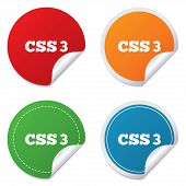 CSS3 sign icon. Cascading Style Sheets symbol.