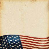 Vintage style grunge background with USA flag at the bottom. Grunge Elements and a faintly striped b