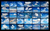 Collage of many images of blue sky with clouds