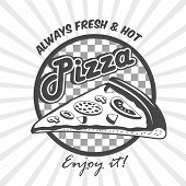 stock photo of hot fresh pizza  - Pizzeria advertising fresh hot enjoy poster with pizza cut slice black and white vector illustration - JPG