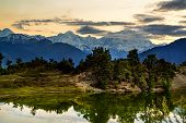 Deoria Tal Lake and Himalayas