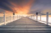 Old Wood Bridg Pier With Nobody Against Beautiful Dusky Sky Use For Natural Background ,backdrop And