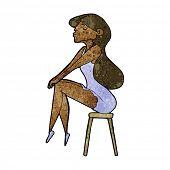 cartoon woman sitting on stool