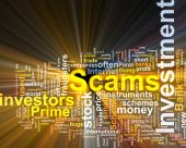 Investment Scams Word Cloud Glowing