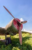 Old Russian Turboprop Aircraft At The Abandoned Aerodrome In Summertime