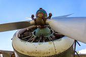Engine Propeller Aircraft And Four Lobes Closeup