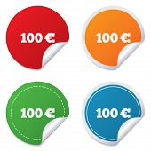 100 Euro sign icon. EUR currency symbol.