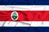 Costa Rica Flag On A Silk Drape Waving