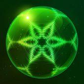 Green shining techno vector sphere
