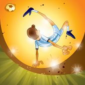 Argentina soccer player performing bicycle kick,sunset scene.