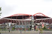 LISBON, PORTUGAL- MAY 29, 2014 : Exterior view of the Estadio da Luz stadium. Estadio da Luz is a mu
