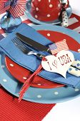 Happy Fourth Of July Dining Table Place Setting In Red, White And Blue Color Theme With Usa Stars An