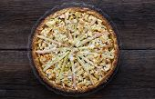 Apple Cinnamon Rhubarb Marzipan Dough Pie Almond Flakes