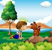 Illustration of a young boy and his pet near the lake