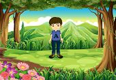 Illustration of a timid young boy at the forest